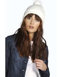 Boohoo Olivia Faux Fur Pom Beanie Hat