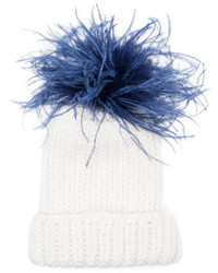 Eugenia Kim Hats Rain Winter Beanie Hat W Feather Pom Pom Whiteblue