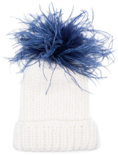 d4fd8606 Eugenia Kim Hats Rain Winter Beanie Hat W Feather Pom Pom Whiteblue ...