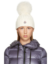 Moncler Ivory Wool Beanie