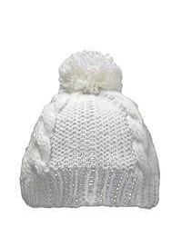 Leisureland Hand Crocheted White Acrylic Beanie Hat