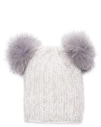 Eugenia Kim Mimi Knit Beanie Hat Wfur Pom Poms White