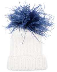 Eugenia Kim Rain Winter Beanie Hat W Feather Pom Pom Whiteblue