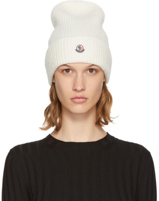 ... Moncler White Logo Beanie ... 38f9016622c