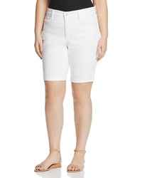 NYDJ Plus Briella Roll Cuff Denim Shorts In Optic White