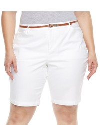 Gloria Vanderbilt Plus Size Anita Belted Bermuda Shorts