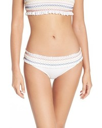 Tory Burch Costa Smocked Hipster Bikini Bottoms
