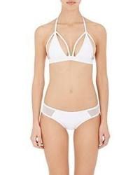 Chromat Outline Halter Bikini Top White