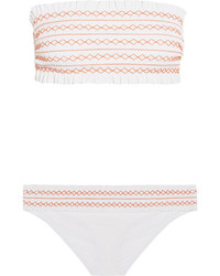 Tory Burch Costa Smocked Bandeau Bikini White