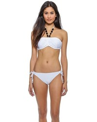 Shoshanna White Diamond Burnout Bikini Top