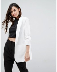 Asos Blazer With Rouched Sleeve