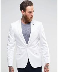 Asos Brand Skinny Blazer In Cotton In White