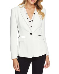 1 STATE Contrast Stripe Textured Crepe Blazer