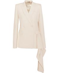 Alexander McQueen Draped Wool Blend Crepe Blazer Off White
