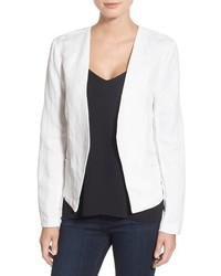 Cupcakes And Cashmere Lillian Open Front Linen Blend Blazer