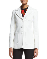 Michael Kors Michl Kors Collection Patch Pocket Three Button Jacket Optic White