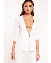 Missguided Collarless Fitted Blazer White