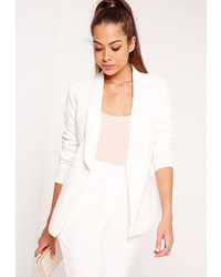 Missguided Fitted Tailored Blazer Suit White