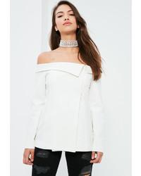 Missguided White Bardot Fold Detail Blazer