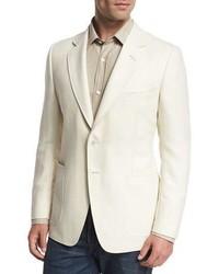 Tom Ford Oconnor Base Herringbone Two Button Sport Coat White