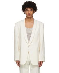 Martin Asbjorn Off White Wool Parker Tuxedo Blazer