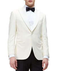 Brioni One Button Peaked Lapel Dinner Jacket Ivory