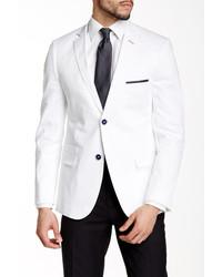 Paisley Gray White Slim Fit Two Button Notch Lapel Blazer