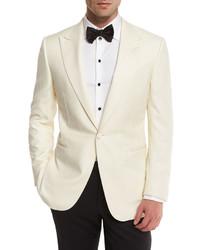 Satin lapel one button dinner jacket white medium 594420