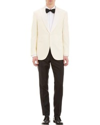 Brioni Satin Lapel One Button Dinner Sportcoat White