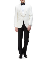 Ermenegildo Zegna Shawl Collar Satin Evening Jacket Ivory