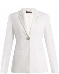 Versace Single Breasted Satin Trimmed Cady Blazer