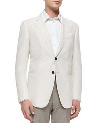 Armani Collezioni Two Button Solid Sport Coat Ivory