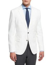BOSS Waffle Stitch Cotton Two Button Sport Coat White