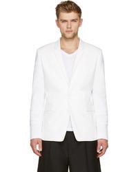 Juun.J White Knit Sleeve Blazer