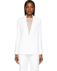 Helmut Lang White Torsion Silk Blazer