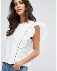 Mango Broderie Frill Sleeve Top