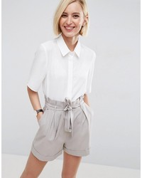 Asos Crop Blouse With Short Sleeves