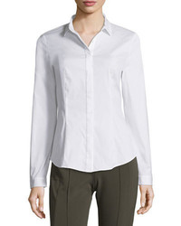 Lafayette 148 New York Frieda Button Front Stretch Cotton Blouse White Plus Size