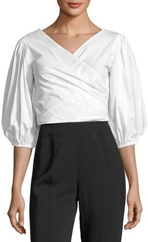 Elizabeth and James Haven Three Quarter Sleeve Wrap Top White