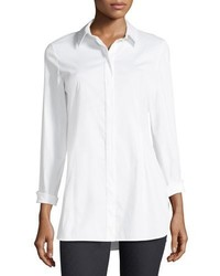 Lafayette 148 New York Jake Stretch Cotton Button Front Blouse
