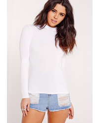 Missguided Petite White Long Sleeves Turtle Neck Top
