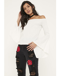 Missguided White Flared Sleeve Bardot Blouse