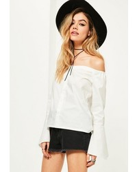 Missguided Petite White Trumpet Sleeve Button Up Blouse