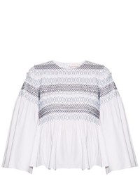 See by Chloe See By Chlo Smocked Cotton Poplin Top