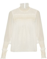 See by Chloe See By Chlo Smocked High Neck Crepe Blouse
