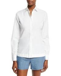 Loro Piana Viviane Cotton Long Sleeve Blouse White