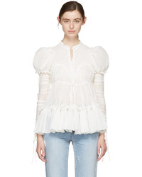 Alexander McQueen White Crepe Ruched Sleeves Blouse