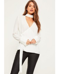 Missguided White Tab Neck Tie Side Long Sleeve Blouse