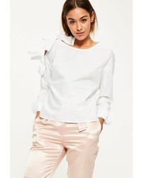Missguided White Tie Shoulder Detail Long Sleeve Blouse