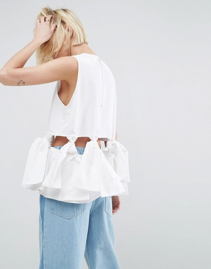 Asos White White Shell Top With Knot Detail